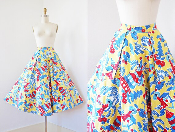 1950s Skirt - Vintage 50s Skirt - High Waisted Mus