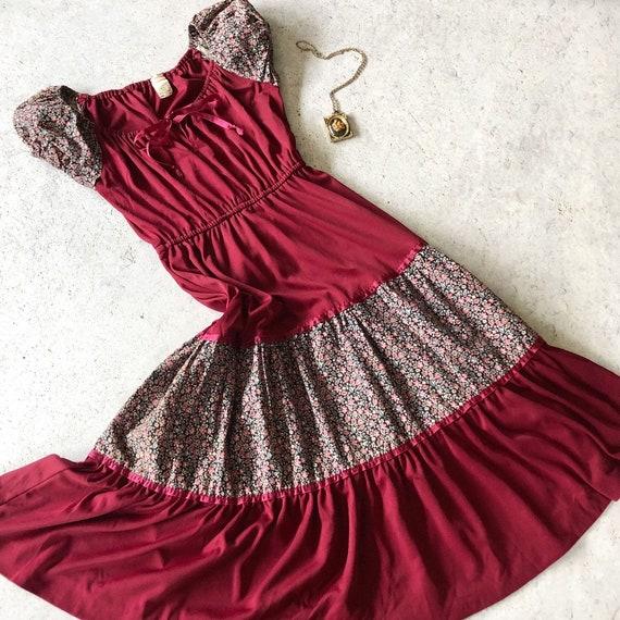 1970s Dress - Vintage 70s Dress - Wine Red Jersey