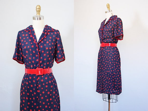 20bae479eb8 1940s Dress Vintage 40s Dress Navy Blue Red Polka Dot