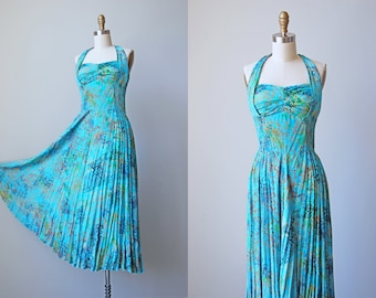 80s Dress - Vintage 1980s does 1930s Dress - Turquoise Gold Rayon Indonesian Batik Maxi Dress w Shelf Bust Halter Neck Size S to M
