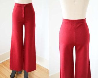 "1970s Bell Bottom Pants - Vintage 70s Trousers -  Deep Wine Artful Flared Slacks Size XS to S W24""/26"""