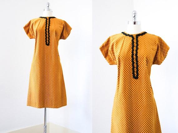 1960s Dress - Vintage 60s Dress - Gold Lurex + Mus