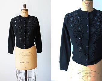 1950s Beaded Sweater - Vintage 50s Beaded Cardigan - Black Lambswool Angora Sweater M - Anthracite Cardigan