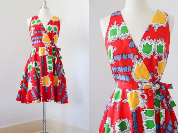 1970s Dress - Vintage 70s Dress - Jaunty Rainbow … - image 1