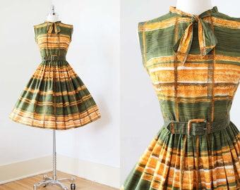 1950s Dress - Vintage 50s Dress - Mustard Olive Green French Cotton Sundress w Graphic Stripes Size Petite M