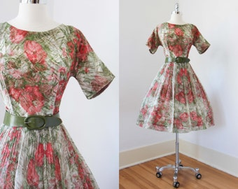 1950s Dress - Vintage 50s to 60s Dress - Stunning Red Poppy Chiffon Layered Party Dress Size M