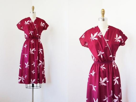 1970s Dress - Vintage 70s Dress - Red Wine Cassava