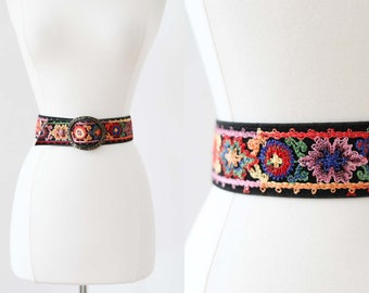 Vintage 1960s to 1970s Belt - 60s 70s Rainbow Crewel Embroidered Black w Bold Hammered Metal Buckle Fits Many!
