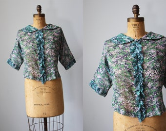 1940s Top -  Vintage 30s 40s Blouse - Make Do and Mend Woodland Print Thin Voile Cotton Peter Pan Collar Top Size M to L
