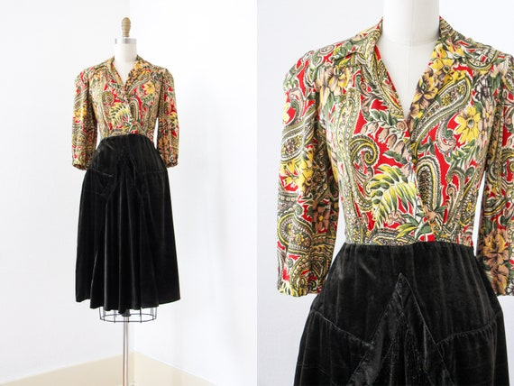 1940s Dress - Vintage 40s Dress - Lush Saturated R