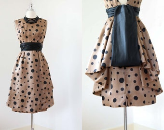 1950s Dress - Vintage 50s to 60s Dress - Incredible Silk Designer Nathan Strong Latte + Black Polka Dot Sculpted Peplum Skirt Size XS to S