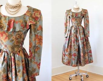 1980s Dress - Vintage 80s Dress - Laura Ashley OTT Style Puff Sleeve Designer Satin Autumnal Party Dress w Petticoat Size M