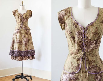 1970s Dress Set - Vintage 70s Stunningly Gorgeous Thorned Rose Print Young Edwardian Corset Lace Blouse + Prairie Skirt Size XS to S