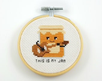 This is my jam cross stitch pattern, jam PDF pattern, jam cross stitch, guitar cross stitch, music cross stitch, food cross stitch