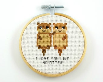 I love you like no otter cross stitch pattern, otter pdf pattern, funny cross stitch, otter cross stitch, I love you like no other