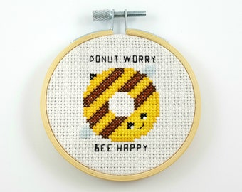 donut worry bee happy cross stitch pattern, PDF pattern, funny cross stitch, donut cross stitch, bee cross stitch, don't worry be happy