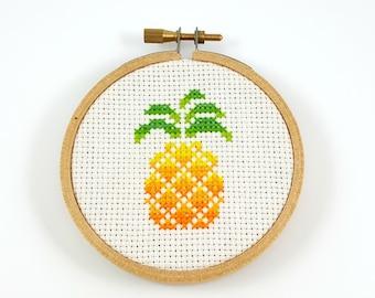 Geometric pineapple Cross Stitch pattern, geometric cross stitch, minimalist cross stitch, modern cross stitch, pineapple pdf pattern