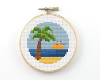 Palm beach cross stitch pattern, pdf pattern, landscape cross stitch, holiday cross stitch, palm cross stitch, sunset cross stitch