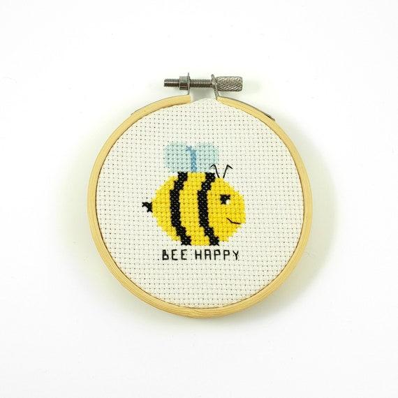 Bee Happy Cross Stitch Pattern Be Happy Pattern Bee Cross Etsy