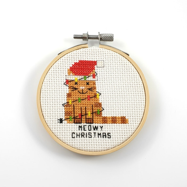 Meowy Christmas cross stitch pattern, cat cross stitch, Christmas cross  stitch, xmas pfd pattern, funny cross stitch, cute cross stitch