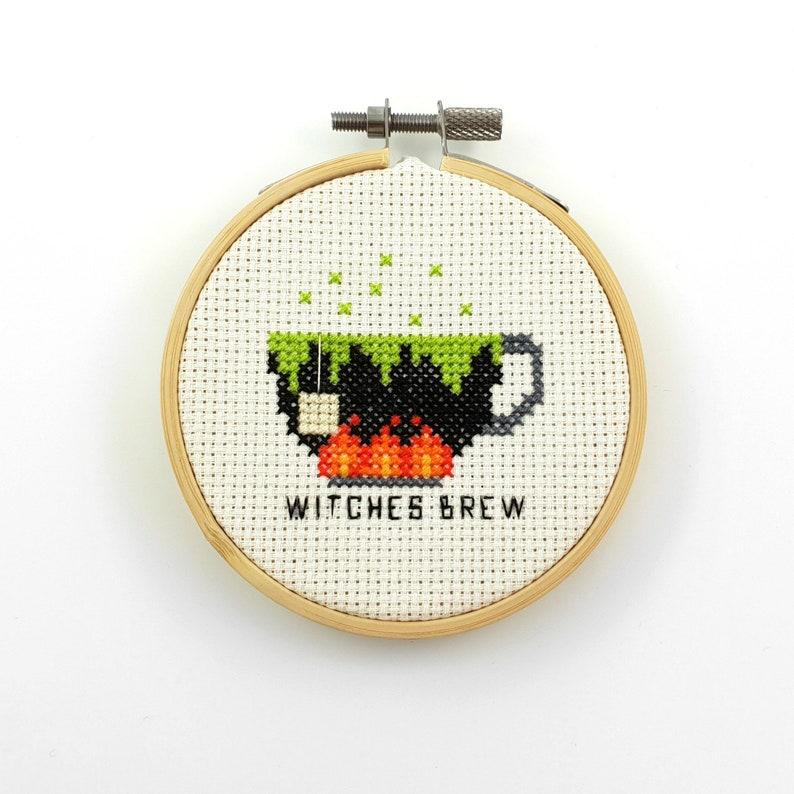 Witches brew cross stitch pattern tea pdf pattern witch tea image 0