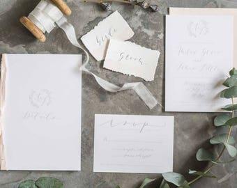 Modern Calligraphy Wedding Stationery SAMPLE PACK // Simple Calligraphy Wedding Invitation // Handpainted Wedding Stationery Set