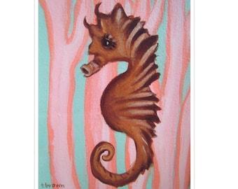 seahorse. fine art print. under the sea. ocean. underwater. sea animals. marine life. fish. tropical. wall art. original art. traciebrownart