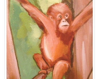baby orangutan. cosmo. 8x10 fine art print. jungle animals. monkeys. baby animals. rainforest. zoo. great apes.