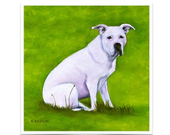 dogs. fine art print. pitbulls. pit bull rescue. animals. white pitt. pets. puppies. valentine.  print of original painting. traciebrownart