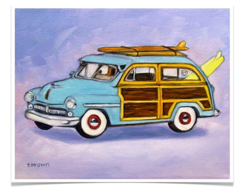 woody station wagon. fine art print. surfer. beach. car. image 0