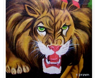 lion. fine art print. zoo. animal. cats. mane. safari. wild animals. africa. levon- print of original painting. traciebrownart.