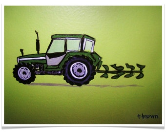 tractor. farm equipment. kids rooms. art print. john deere. plow. deere john fine art art print of original painting. traciebrownart.