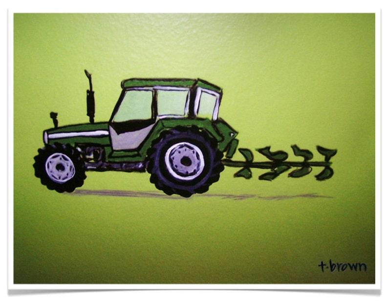 tractor. farm equipment. kids rooms. art print. john deere. image 0