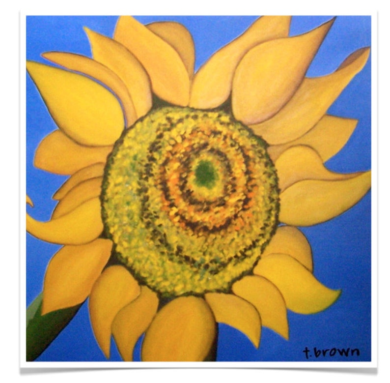 sunflower. fine art print of original painting. image 0