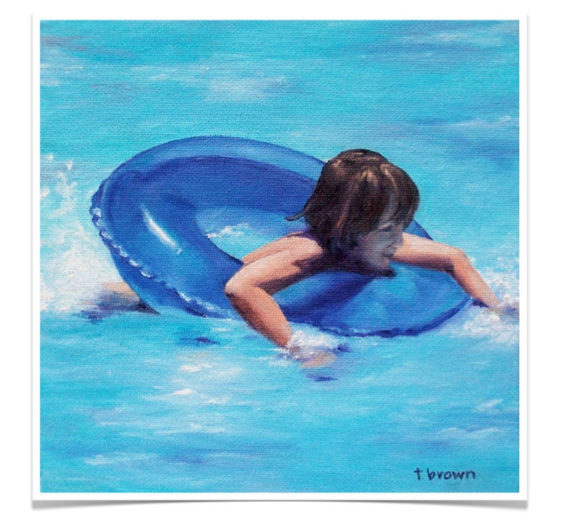 pool. figurative. fine art print. little boy. blue. floatie. image 0