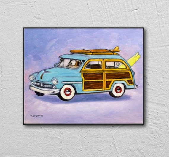 Woodie Station Wagon Woody Surfing Surf Board Christmas Ornament