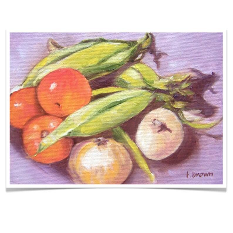 southern veggies. fine art print. corn. tomatoes. onions. image 0