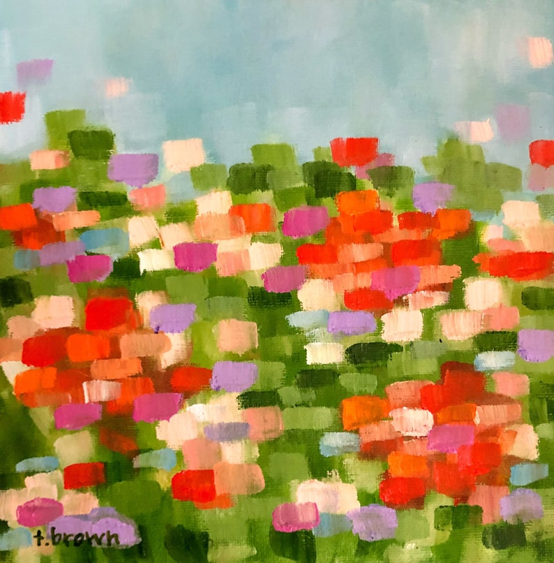 tulips. original 8x8 oil painting by artist tracie brown. image 0