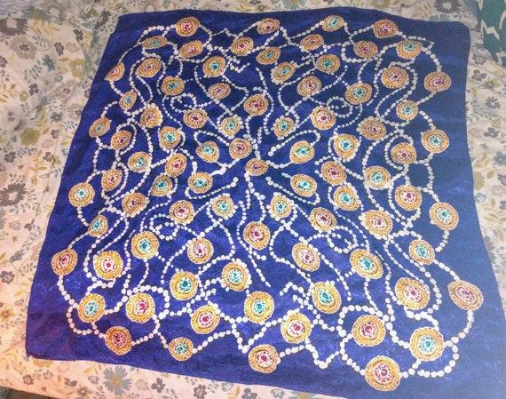 Big Vintage Square Silk Scarf - image 1