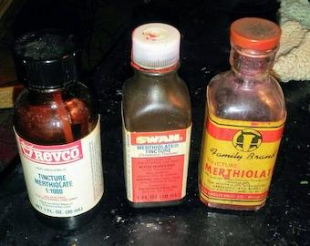 3 Vintage Bottles Tincture Merthiolate -Medicine