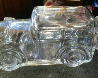 Vintage Glass Car Candy Container Jar