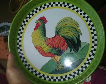 Big Vintage Rooster Tin Tray