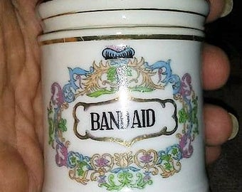 Sale-Chase Handpainted Japan Band Aid Apothecary Jar