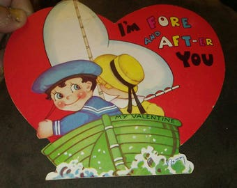1938 Valentine Card - Children Sailing