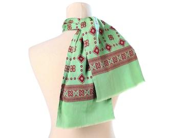 48e157ed5040 Regalo da uomo verde sciarpa in lana fine 80s verde rosso di classe mosaico  stampa doppio vintage collo scialle uomini padre fidanzato gentiluomo regalo