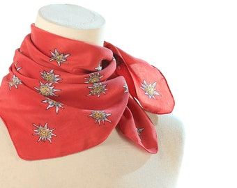 Edelweiss Silk Scarf 80s Red Floral Scarf Women Silk Bandana Vintage Neck Scarf Hipster Gift Idea Flower Print Kerchief 1980s Neckerchief