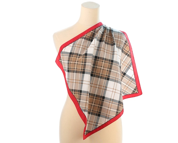 131dd6a4357a Écharpe unisexe à carreaux des années 80 petit foulard Vintage Col écharpe  rouge carreaux Beige Blanc ...