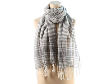 Large COTTON Scarf 90s Vintage Fringe Striped Shawl Wrap Fringed Gipsy Gray White Natural Bohemian Festival Lightweight Girlfriend Gift