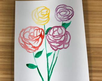 Ink flowers pink, red, yellow and purple flowers  easy floral painting