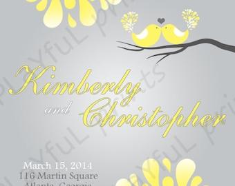 Yellow and Grey Love Bird Wedding Program